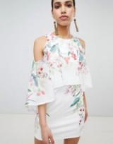 Lipsy printed cape sleeve shift dress | feminine party fashion