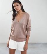 REISS LOTTIE METALLIC OVERSIZED V-NECK JUMPER COPPER ROSE ~ luxe style knitwear