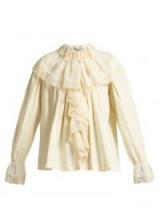 GUCCI Macramé lace-trimmed ivory cotton blouse ~ romantic ruffles