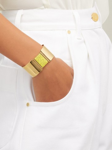 ISABEL MARANT Marbled stone-embellished cuff | chic yellow marble and gold tone cuffs | French made jewellery