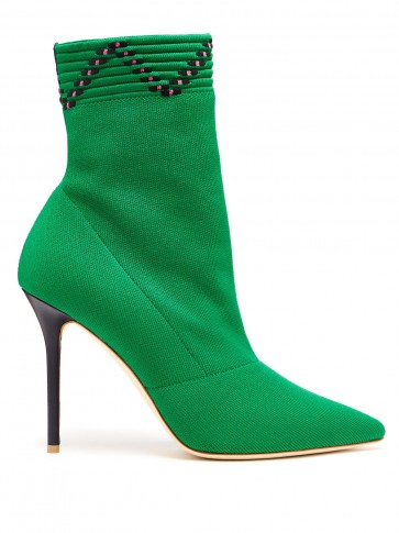 MALONE SOULIERS Mariah sock ankle boots in green