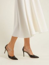 GIANVITO ROSSI Mary Jane 85 leather and clear plexi pumps