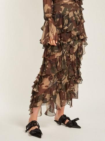 PREEN BY THORNTON BREGAZZI Melena camouflage-print ruffle skirt / camo prints