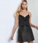 REISS MIMI LEATHER MINI SKIRT BLACK ~ luxe style