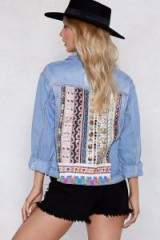NASTY GAL Mirror Me Embellished Denim Jacket / sparkly back