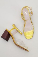 Miss L Fire Vinyl Metallic-Block Heels ~ gold sandals
