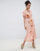 Miss Selfridge embroidered cap sleeve wrap maxi dress in Pink | plunge front floral frock
