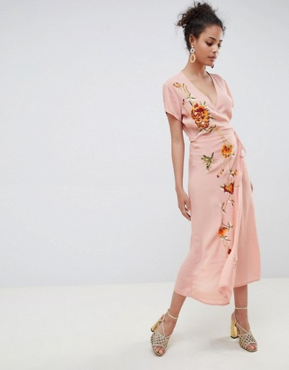 Miss Selfridge Embroidered Cap Sleeve Wrap Maxi Dress In Pink Pl