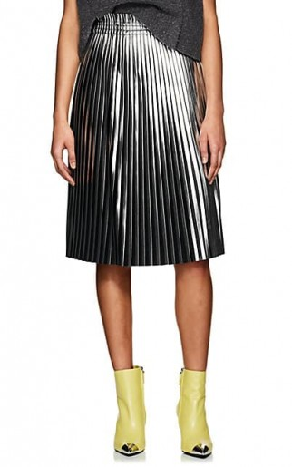 MM6 MAISON MARGIELA Metallic-Silver and Black High-Rise Pleated Skirt