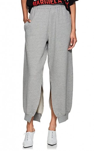 MM6 MAISON MARGIELA Split Cotton-Blend Fleece Sweatpants | slit hem joggers