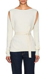 MM6 MAISON MARGIELA Wrap Rib-Knit Top | chic cut-out knitwear