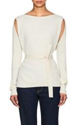 MM6 MAISON MARGIELA Wrap Rib-Knit Top | chic cut-out knitwear