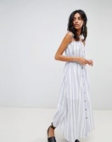 Moon River button front stripe midaxi dress ~ long strappy summer dresses