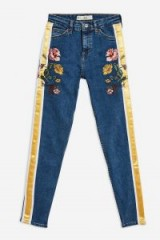 MOTO Mid Blue Embroidered Side Stripe Jamie Jeans | floral cropped skinnies