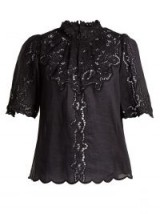 ISABEL MARANT Mumba black broderie-anglaise top ~ romantic high neck blouse