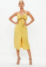 MISSGUIDED mustard tie front button down strappy midi dress – summer style fashion
