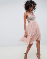 Needle & Thread embellished tulle midi dress with cami straps in vintage rose – pale pink occasion dresses