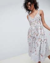 Needle & Thread embroidered prom midi dress in vintage blue / luxe party wear / floral embroidery
