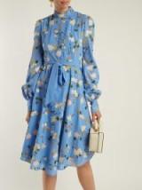 ERDEM Neville Mariko Blue Meadow-print cotton dress ~ floral summer event wear