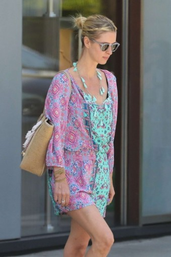 Nicky Hilton pink printed mini dress, Tolani Portia Graphic-Print Silk Long Tunic, out and about in Beverly Hills, 12 June 2018 | celebrity summer style