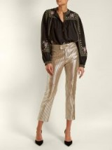 ISABEL MARANT Novida cropped leather trousers ~ silver crop leg pants