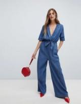 Only wrap denim jumpsuit in blue | plunge neckline