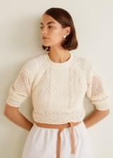 MANGO Open-knit sweater in ecru | neutral summer knits