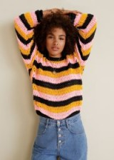 MANGO Oversize crochet sweater | black, pink and organge striped jumpers | slouchy summer knitwear
