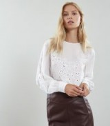 REISS PANSY FLORAL EMBROIDERED BLOUSE WHITE ~ feminine cut-out top