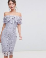 Paper Dolls Ruffle Bardot Lace Midi Dress in Oyster Grey