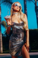 Paris Hilton x boohoo Metallic Twist Front O Ring Dress in Silver – celebrity inspired party dresses