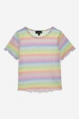 TOPSHOP Pastel Rainbow T-Shirt / sheer multicoloured tee