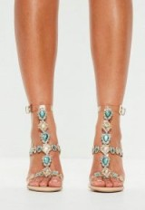 peace + love nude bejeweled heeled sandals ~ clear strap jewelled heels ~ evening luxe