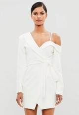peace + love white one shoulder tuxedo dress – statement style party fashion