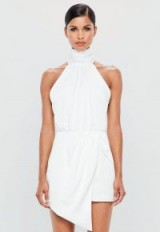peace + love white wrap satin playsuit | luxe party fashion