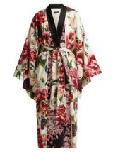 DOLCE & GABBANA Peony and rose-print charmeuse kimono coat / pink and white florals