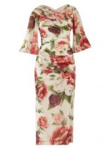 DOLCE & GABBANA Peony and rose-print georgette midi dress ~ chic vintage style clothing