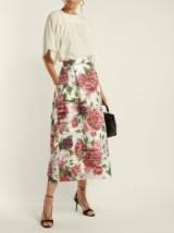 DOLCE & GABBANA Peony and rose-print high-rise midi skirt / floral fashion