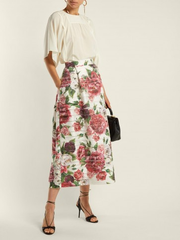DOLCE & GABBANA Peony and rose-print high-rise midi skirt / floral fashion