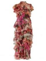 DOLCE & GABBANA Peony and rose-print tiered chiffon midi dress / my floral romance