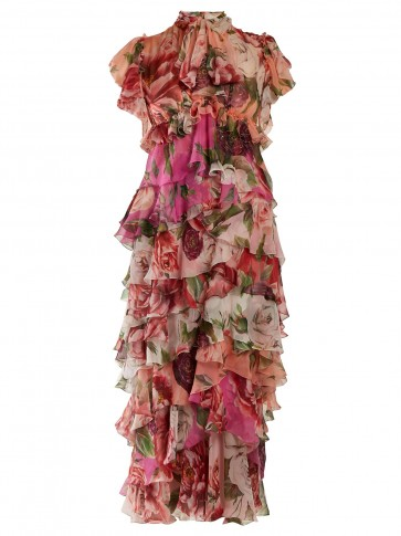 DOLCE & GABBANA Peony and rose-print tiered chiffon midi dress / my floral romance