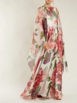 DOLCE & GABBANA Peony-print silk-chiffon dress ~ floaty wide sleeve floral gown ~ beautiful Italian clothing