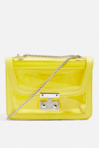 TOPSHOP Yellow Perspex Cross Body Bag