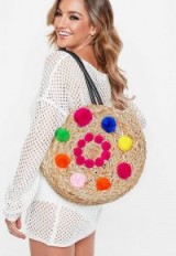 MISSGUIDED pink circular detail pom pom bag – summer holiday accessory