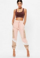 Missguided pink contrast panelled utility trousers | cuffed colourblock pants