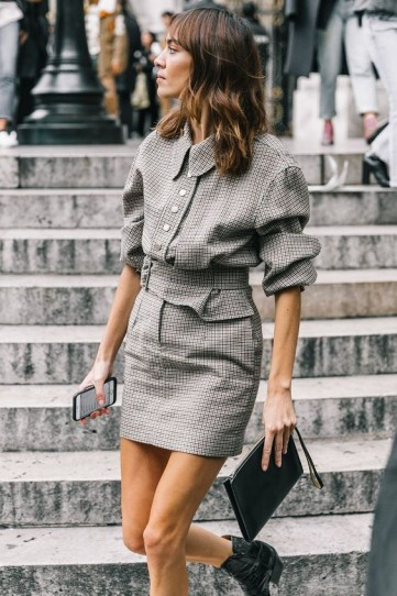 Chic little checked skirt suit and Western ankle boots