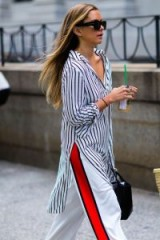 This striped long shirt and white trousers with a bold red stripe work really well together…loving mixed stripes!