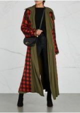 PREEN BY THORNTON BREGAZZI Lana checked reversible twill coat – long chic coats – olive green and red checks