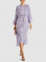 PREEN BY THORNTON BREGAZZI Patricia Ruched Lilac Silk-Chiffon Midi Dress ~ feminine event wear