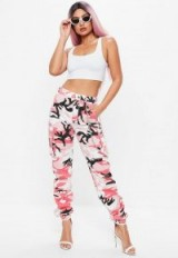 Missguided premium pink camo cargo chain trousers